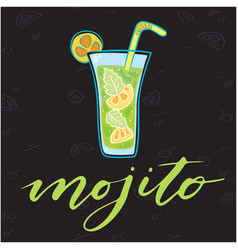 mojito glass of cocktail background image vector image