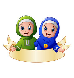 Muslim girl couple embrace for each other presenti vector