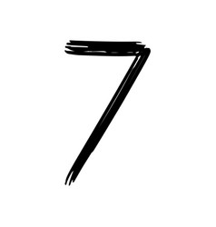 number 7 painted by brush vector image