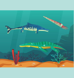 Ocean or sea with underwater dinosaurs or dino vector