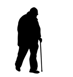 old man walks with cane vector image