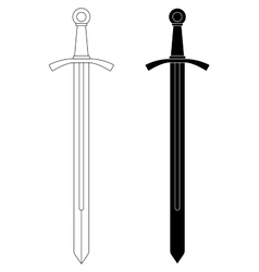 One-handed medieval knight sword Contour black vector