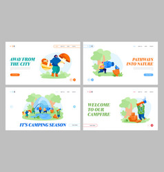 People camping hobby spare time landing page vector