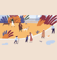 People walking and spend time together at autumn vector