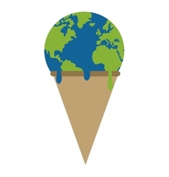 Planet earth ice cream melting icon vector