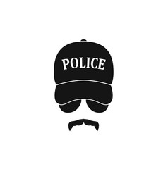 Policeman in baseball cap and sunglasses vector