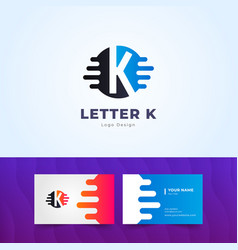 Premium k letter logo business card design vector