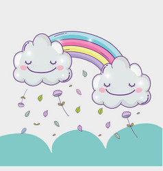 rainbow with happy clouds and flowers leaves vector image