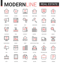 real estate thin red black line icon vector image