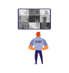 Security guard monitoring camera records on vector