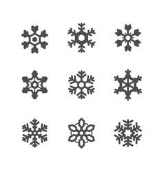 set icons snowflake vector image