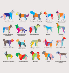 Set of colorful mosaic dogs silhouettes-6 vector