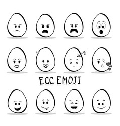 set of egg emoji isolated on white background vector image