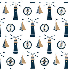 ship lighthouse and sea compass seamless pattern vector image
