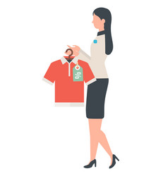 Shop assistant with shirt in departure store vector