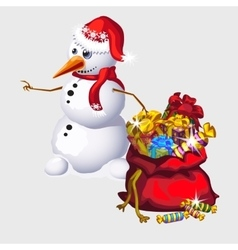 Snowman with a big red bag of candy and gifts vector image