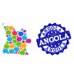 Social network map of angola with talk bubbles and vector