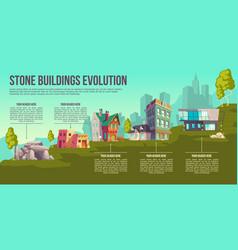 Stone buildings evolution cartoon poster vector