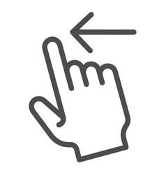 Swipe left line icon flick left vector
