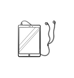 tablet with headphones hand drawn outline doodle vector image
