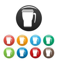 Thermo cup icons set color vector
