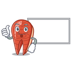 thumbs up with board fish slice character cartoon vector image