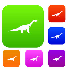 titanosaurus dinosaur set color collection vector image
