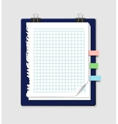 Torn squared notepaper with bookmarks and vector