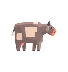 Toy Simple Geometric Farm Grey Cow Browsing Funny vector image