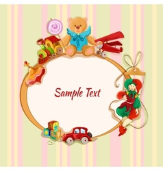 Toys colored drawn framed postcard vector