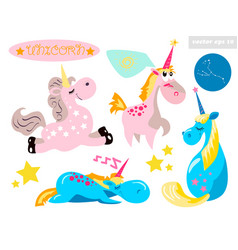 unicorn sticker set vector image