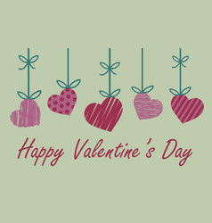 Valentine greeting card with red and pink heart vector