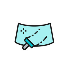 Washing windshield a car flat color line icon vector