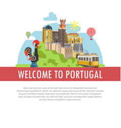 Welcome to portugal travel poster portuguese vector