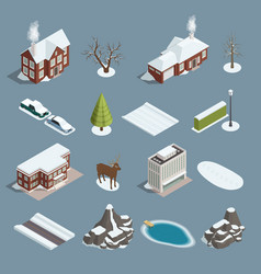 Winter landscape constructor isometric set vector