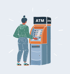 woman using cash atm vector image