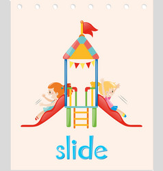 Word card with girls on the slide vector