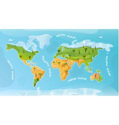 world ocean map flat background vector image