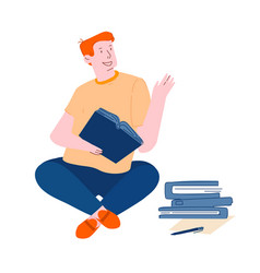 Young man student sitting with books learning vector