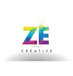 Ze z e colorful letter origami triangles design vector