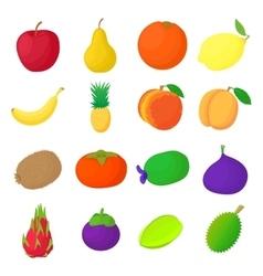 Fruit icons set cartoon style vector image