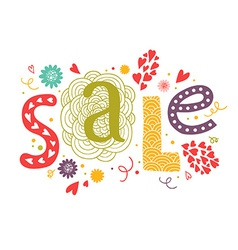 lettering Sale with decorative floral elements vector image