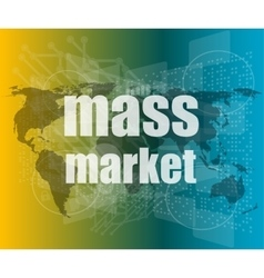 mass market words on digital touch screen vector image