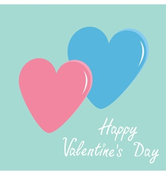 Pink and blue hearts Happy Valentines Day vector image vector image