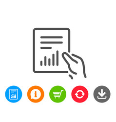 Report document line icon analysis chart vector