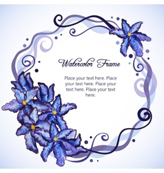 Watercolor floral frame of purple iris vector image vector image