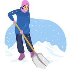 Young woman cleans the road from snow vector image vector image
