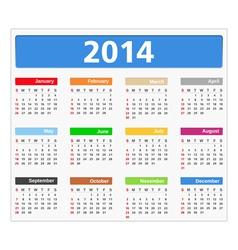 2014 Calendar vector image vector image