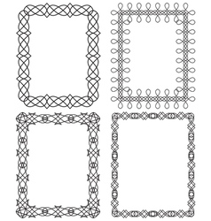 4 black geometric frame in different styles vector image vector image
