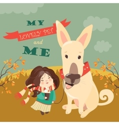 Funny dog with cute girl vector image vector image